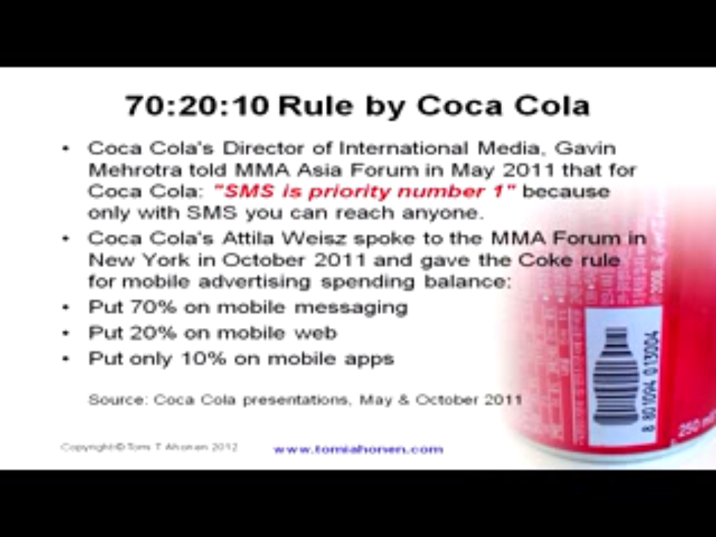 Coca Cola's mobile strategy slide by Tomi Ahonen
