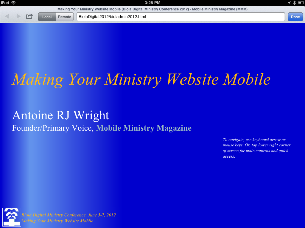 Biola Digital Ministry Conference, MMM Presentation landing page