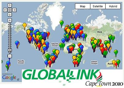 Google Map image of Global Link sites participating with the 3rd Lausanne Evangelical Congress 2010