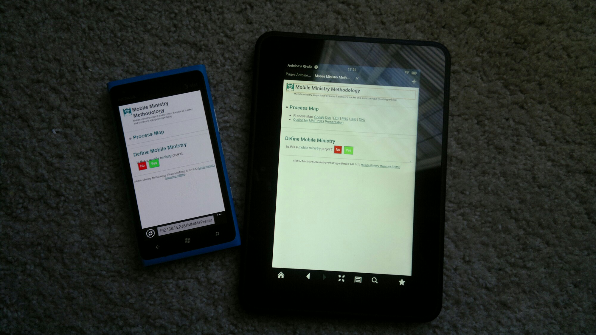 Nokia Lumia 900 and Kindle Fire HD showing Prototype of Mobile Ministry Methodology