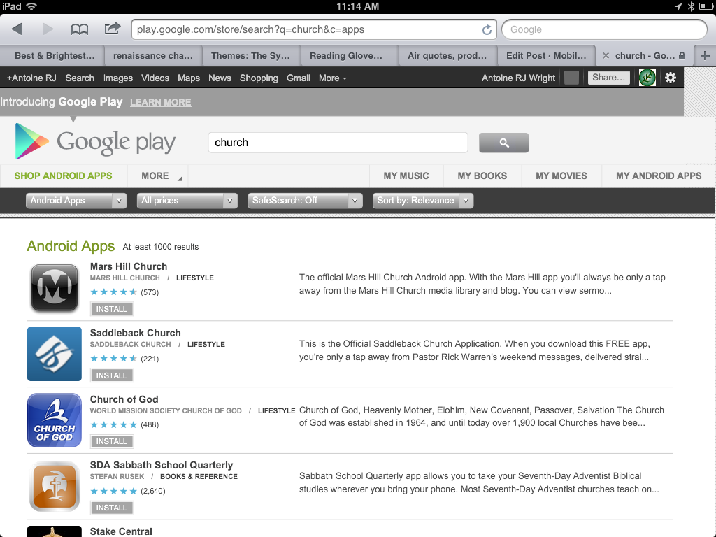 screenshot from iPad of Google Play Store and a search for Church Apps